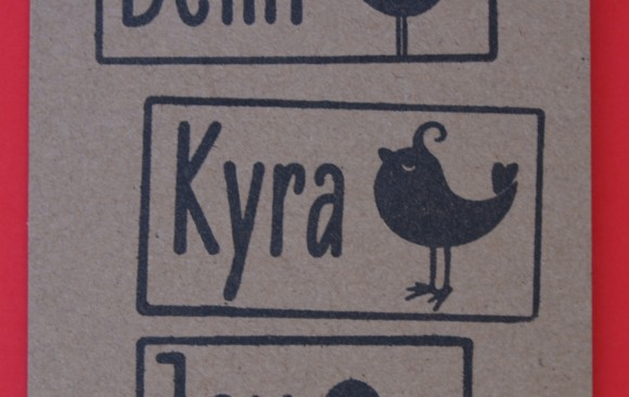 naamstempeltje met vogel