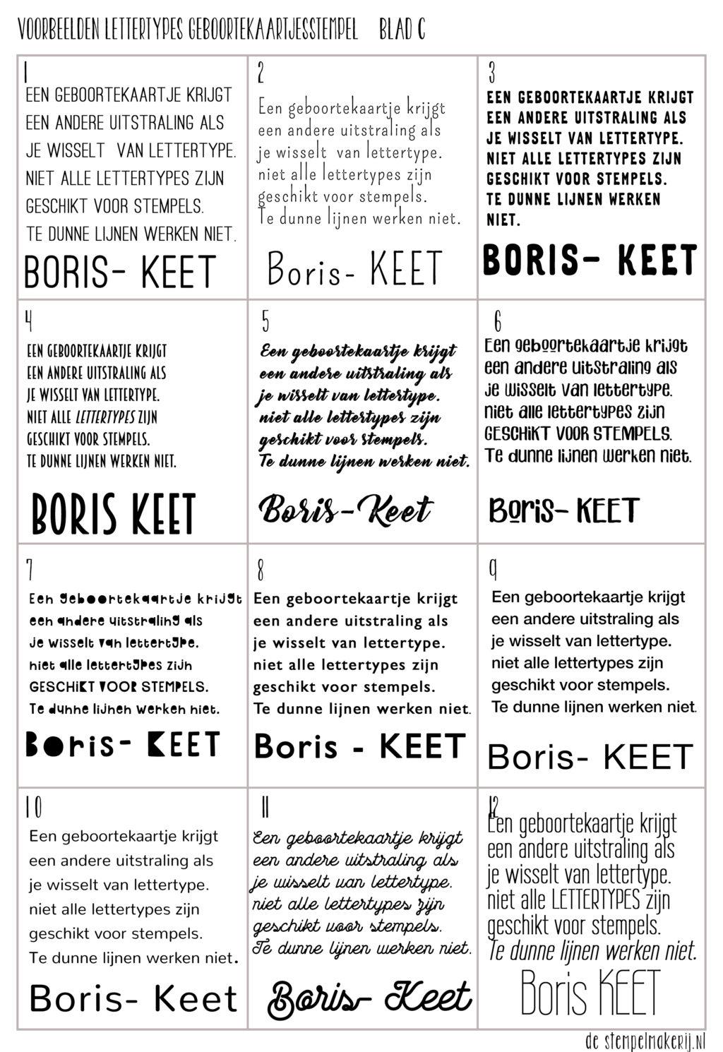 Lettertypes geboortekaartje stempel