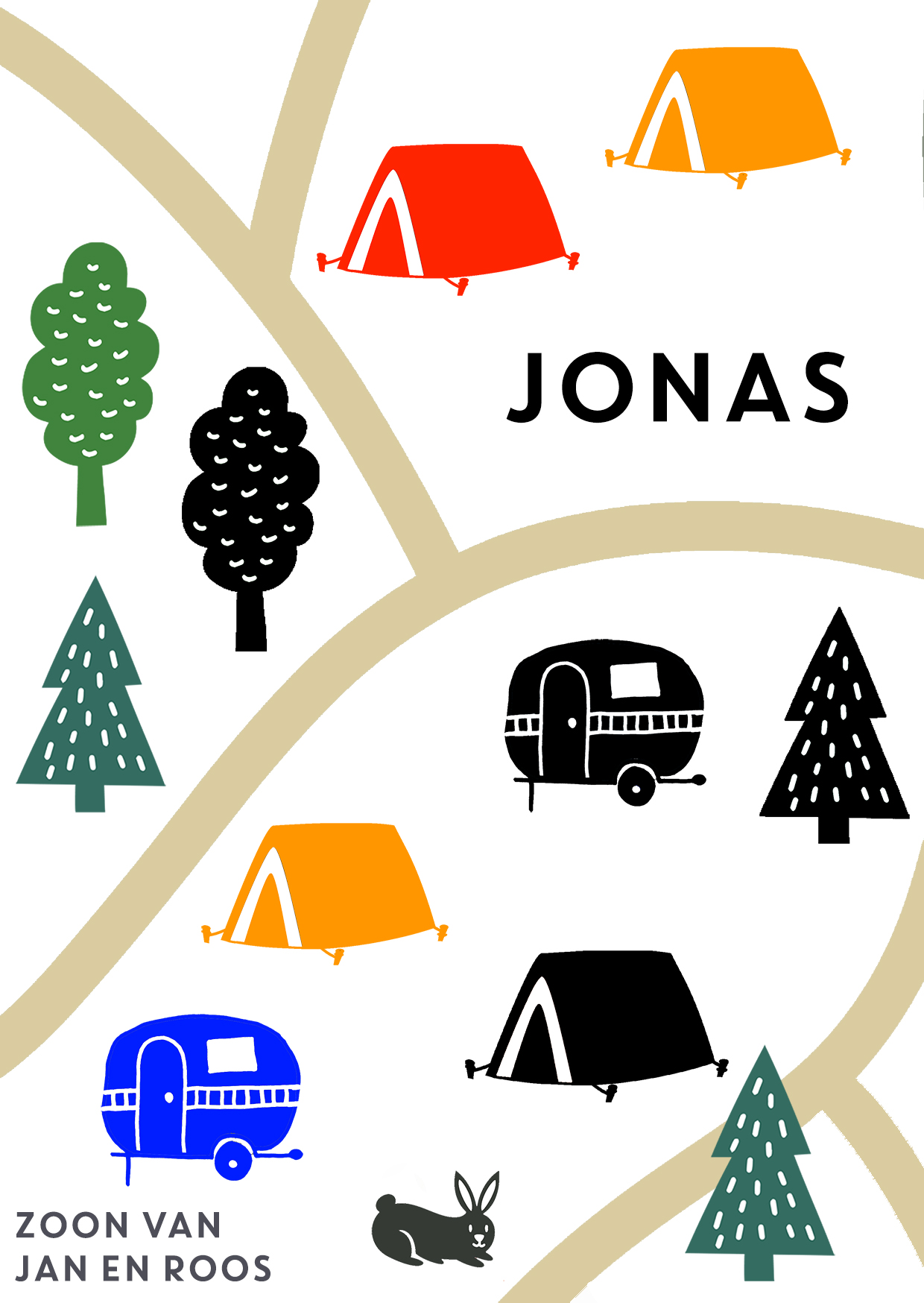 camping gestempeld geboortekaartje