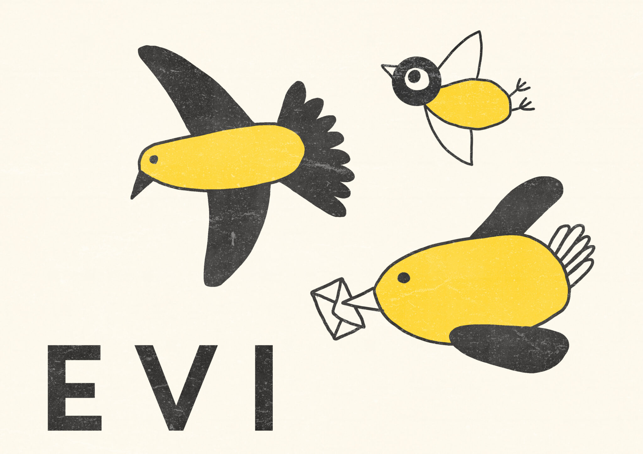 geboortekaartje vliegende vogels stempels zelfgemaakt