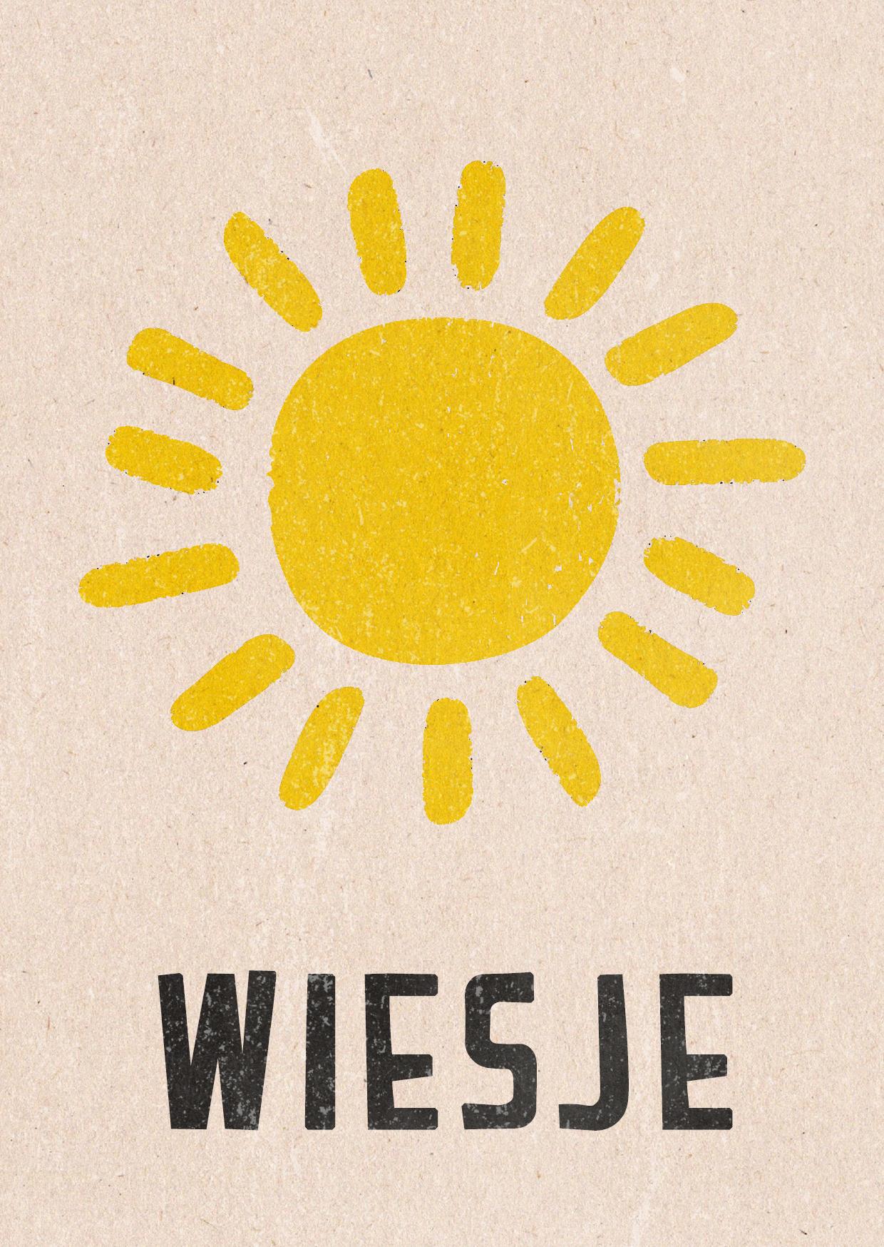 stempel geboortekaartje simpel zon zonnig